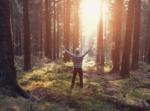 människa i hoodie har armarna uppsträckta i en skog