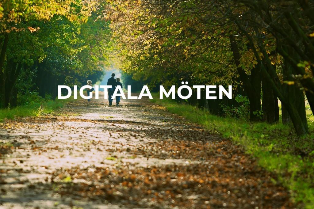 Gångväg i träallé med texten digitala möten